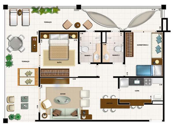 com 95m² ; 2 quartos sendo uma suíte; sala de estar; sala de