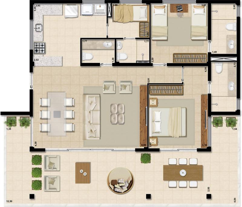 Sala De Tv Planta Baixa ~ de estar sala de jantar lavabo ampla varanda cozinha área de serviço