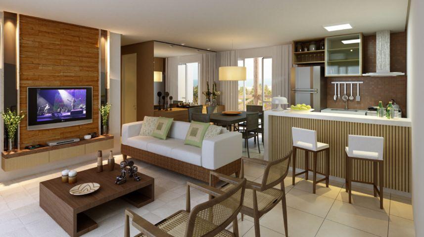 apartamentos tipo 88,89m²  Sala de estarjantar cozinha americana